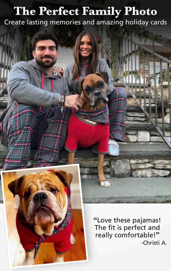 Customers and their dogs wearing matching Gray Plaid pajamas. Customer Quote: Love these pajamas! The fit is perfect and really comfortable. - Christi A. image number 1