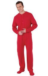 Model wearing Red Dropseat Onesie PJ for Men