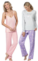 Models wearing Purrfect Flannel Pajamas - Purple and Velour Cami Pajamas - Pink.