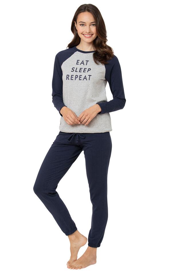 Model wearing Sunday Funday Pajamas - Navy (eat/sleep) image number 0
