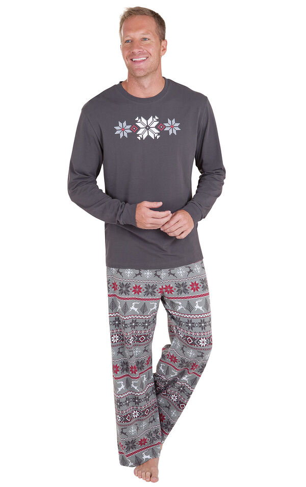 Model wearing Red and Gray Fair Isle PJ for Men image number 0