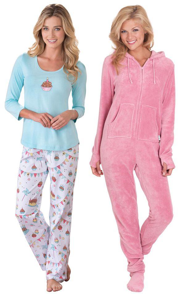Models wearing Happy Birthday Pajamas and Hoodie-Footie - Pink. image number 0