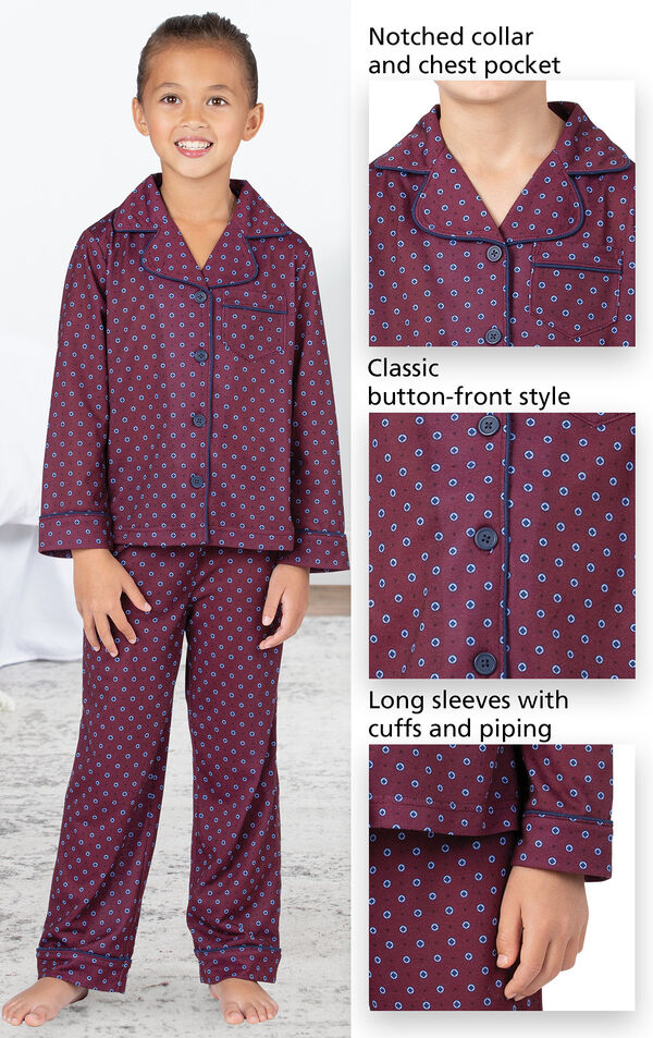 Model wearing Deep Red Print Button-Front PJ for Girls image number 3
