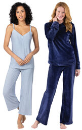 Models wearing Naturally Nude Capri Pajamas - Blue and Tempting Touch PJs - Midnight Blue.