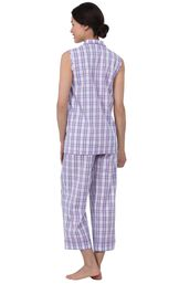 Model wearing Light Purple Plaid Capri PJ for Women, facing away from the camera image number 2