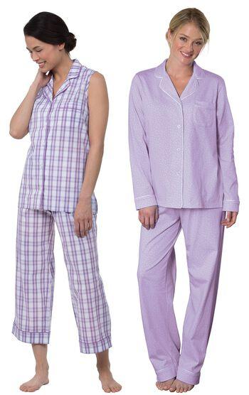 Perfectly Plaid Sleeveless Capri PJs & Lavender Oh-So-Soft Pin Dot Boyfriend PJs