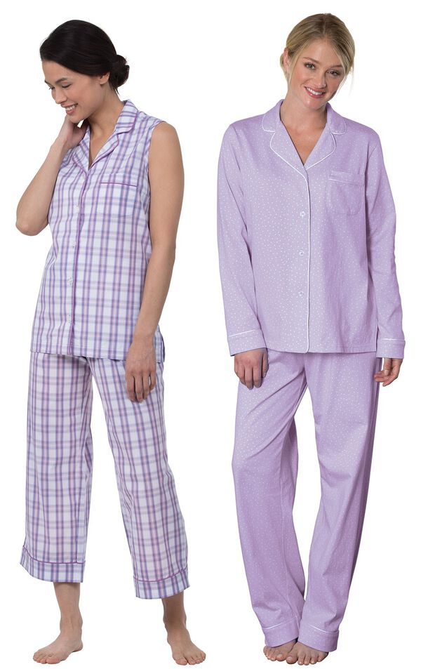 Models wearing Perfectly Plaid Sleeveless Capri Pajamas and Oh-So-Soft Pin Dot Boyfriend Pajamas - Lavender. image number 0