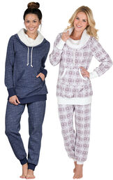 Models wearing Solstice Shearling Rollneck Pajamas and Chalet Shearling Rollneck Pajamas.