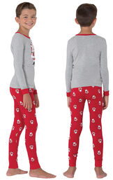 Model wearing Red and Gray Santa Print PJ for Kids, facing away from the camera and then facing to the side image number 1