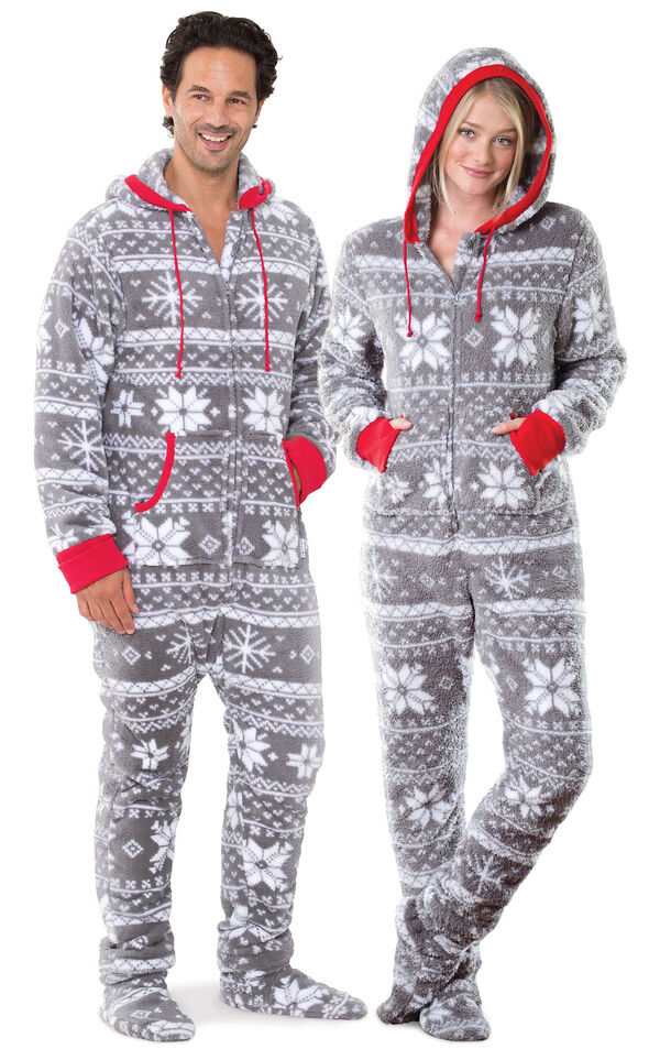 Models wearing Hoodie-Footie - Gray Fair Isle Fleece - Matching for Him and Her image number 0