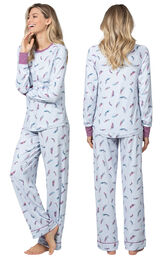 Model wearing Blue and Pink Feather PJ for Women, facing away from the camera and then to the side image number 1