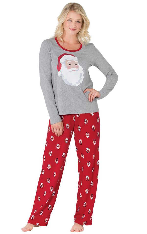 Model wearing Red and Gray Santa Print PJ for Women image number 0