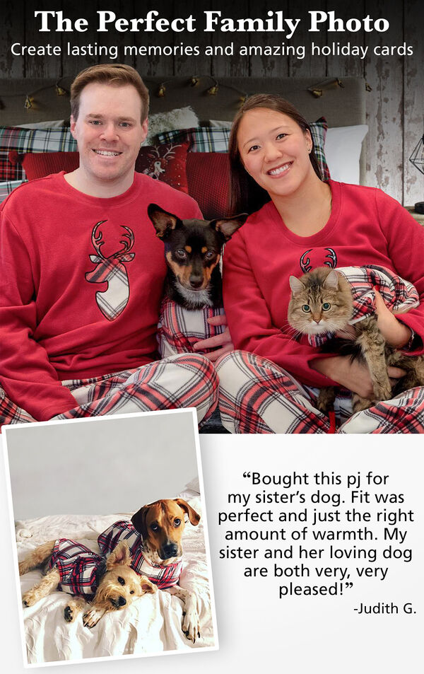 Photos of customers and their pets wearing matching red and white plaid fireside fleece pajamas with the following copy: The Perfect Family Photo - Create lasting memories and amazing holiday cards. image number 1