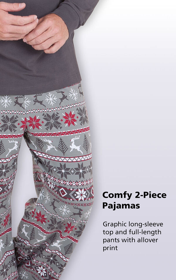 Close-up of Nordic Men's Pajamas Gray and Red pants with the following copy: Comfy 2-Piece Pajamas - Graphic long-sleeve top and full-length pants with allover print image number 2