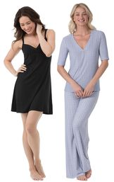 Models wearing Naturally Nude Chemise - Solid Black and Naturally Nude Pajamas - Blue.