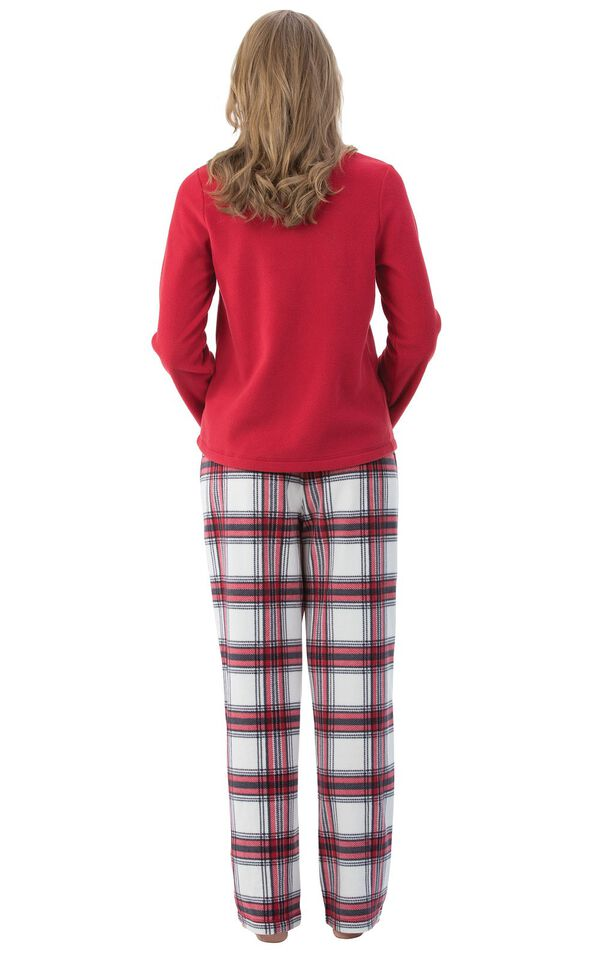 Model wearing Red and White Plaid Fleece PJ for Women, facing away from the camera image number 1