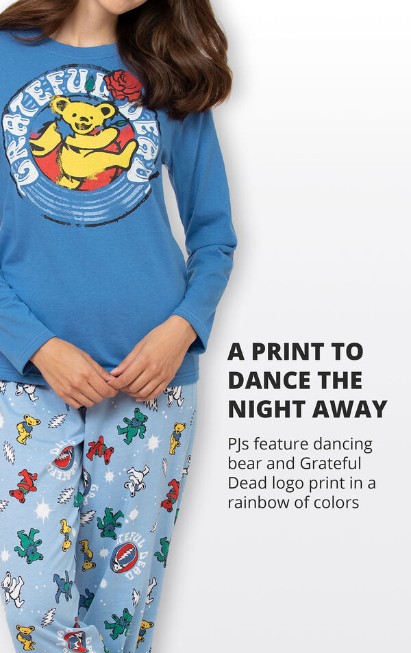 PJs feature dancing bear and Grateful Dead logo print in a rainbow of colors image number 2