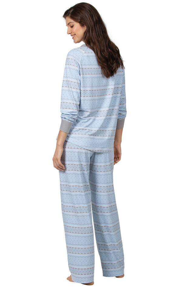 Model wearing Whisper Knit Henley Pajamas - Blue Fair Isle, facing away from the camera image number 1