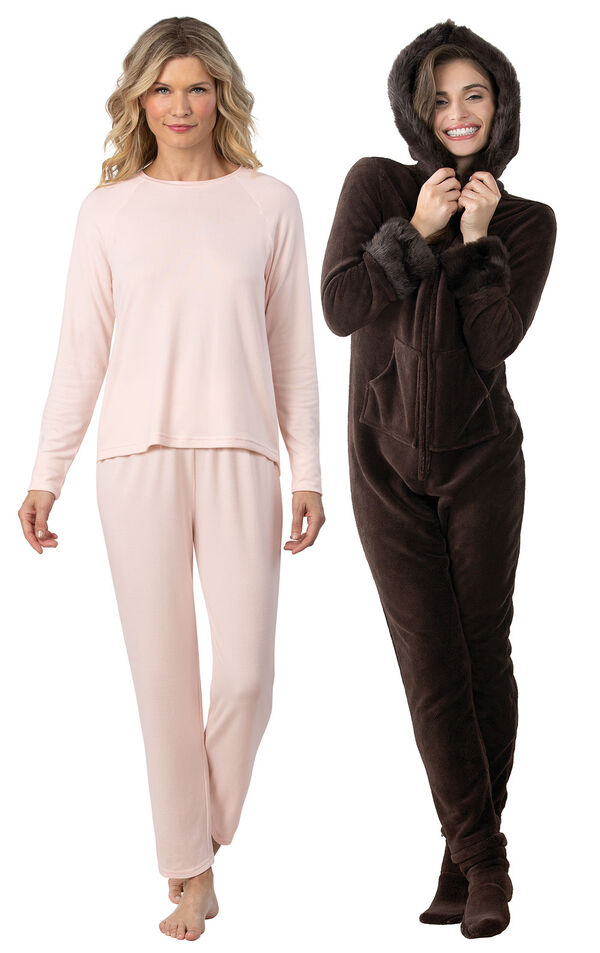 Models wearing Naturally Nude Knit Pajamas - Light Pink and Hoodie-Footie - Mink Chocolate. image number 0