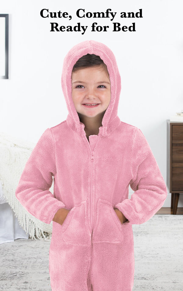Girl wearing Pink Hoodie-Footie with the following copy: Cute, Comfy and Ready for Bed. image number 2