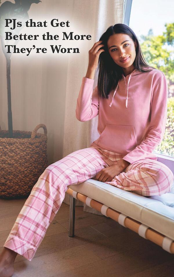 Glitzy Pink Plaid Hooded Pajamas image number 2