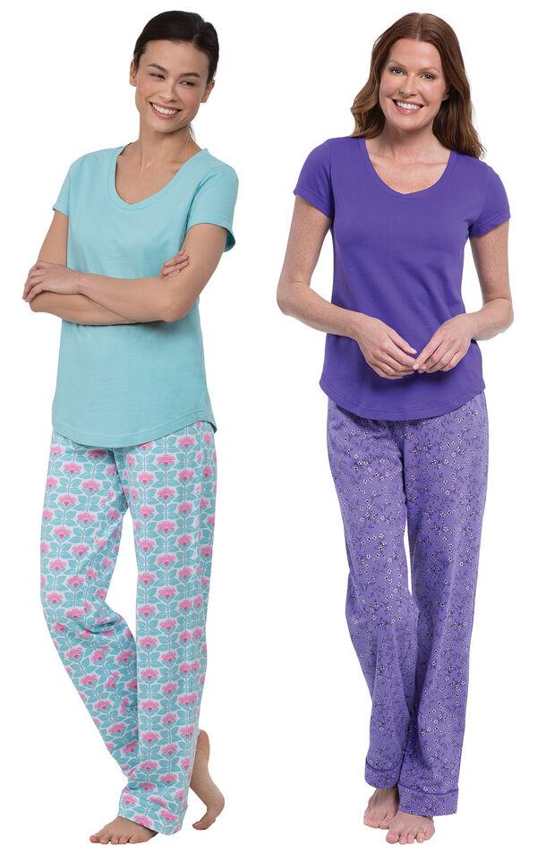 Models wearing Short-Sleeve V-Neck Pajamas - Aqua Floral and Short-Sleeve V-Neck Pajamas- Purple Floral image number 0