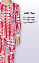 Long-sleeve jersey pajama top is cozy and festive with cute peppermint print image number 2