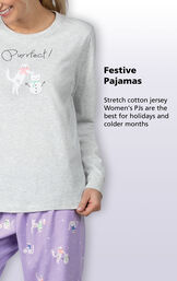 Festive Cat Pajamas - stretch cotton jersey Women's PJs are the best for holidays and colder months image number 4
