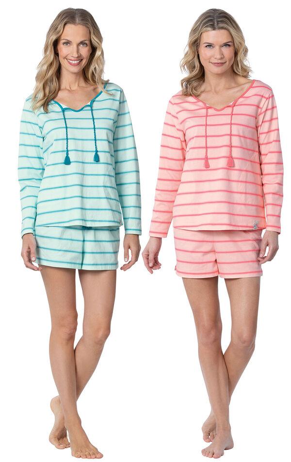Models wearing Margaritaville Rest and Relaxation Short Set - Blue and Margaritaville Rest and Relaxation Short Set - Pink. image number 0