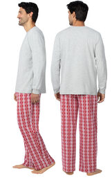 Model wearing Red and White Peppermint Twist PJ for Men, facing away from the camera and then to the side image number 1