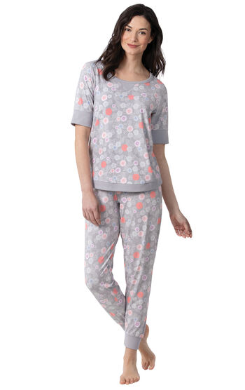 Addison Meadow PajamaGram Whisper Knit Joggers - Gray Floral