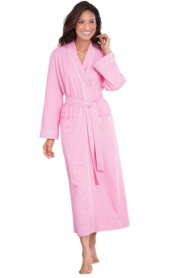 Model wearing Pink Pin Dot Wrap Robe for Women image number 0