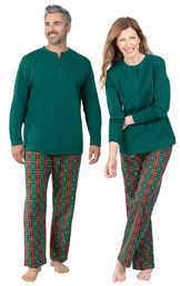 Christmas Tree Plaid His & Hers Matching Pajamas image number 0