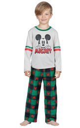 Model wearing Red and Green Mickey Mouse Holiday PJs for Youth