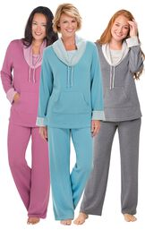 Models wearing World's Softest Pajamas - Raspberry, World's Softest Pajamas - Teal and World's Softest Pajamas - Charcoal.