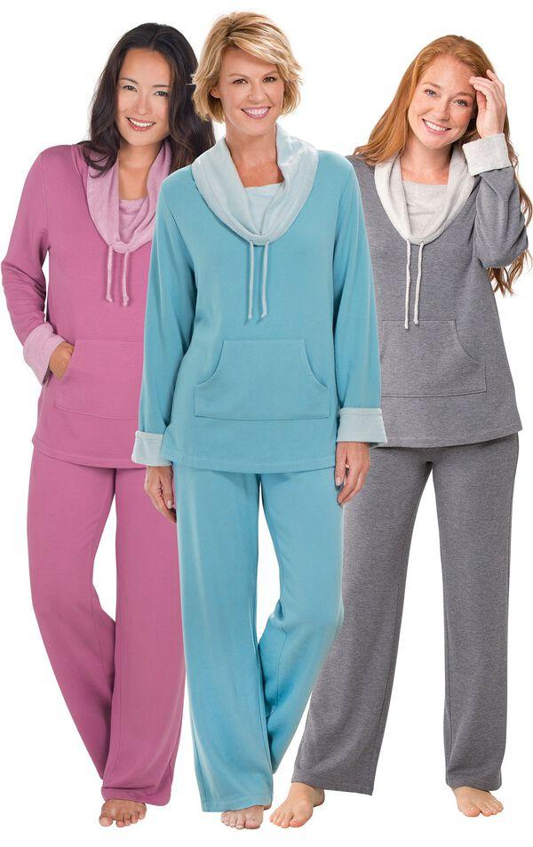 Models wearing World's Softest Pajamas - Raspberry, World's Softest Pajamas - Teal and World's Softest Pajamas - Charcoal. image number 0