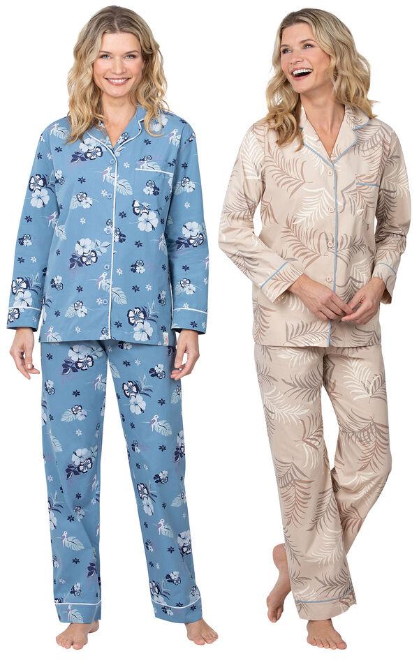 Models wearing Margaritaville Hibiscus Boyfriend Pajamas - Blue and Margaritaville Palm Frond Boyfriend Pajamas - Sand. image number 0