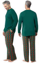 Model wearing Red and Green Christmas Tree Plaid Thermal Top PJ for Men, facing away from the camera and then to the side image number 1