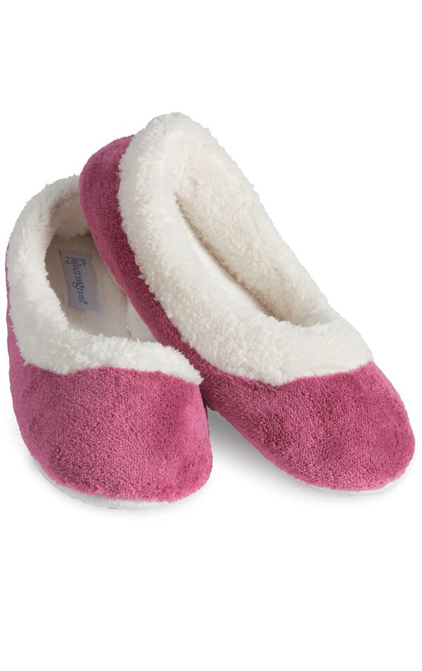 Model wearing World's Softest Pink Slippers for Women image number 0