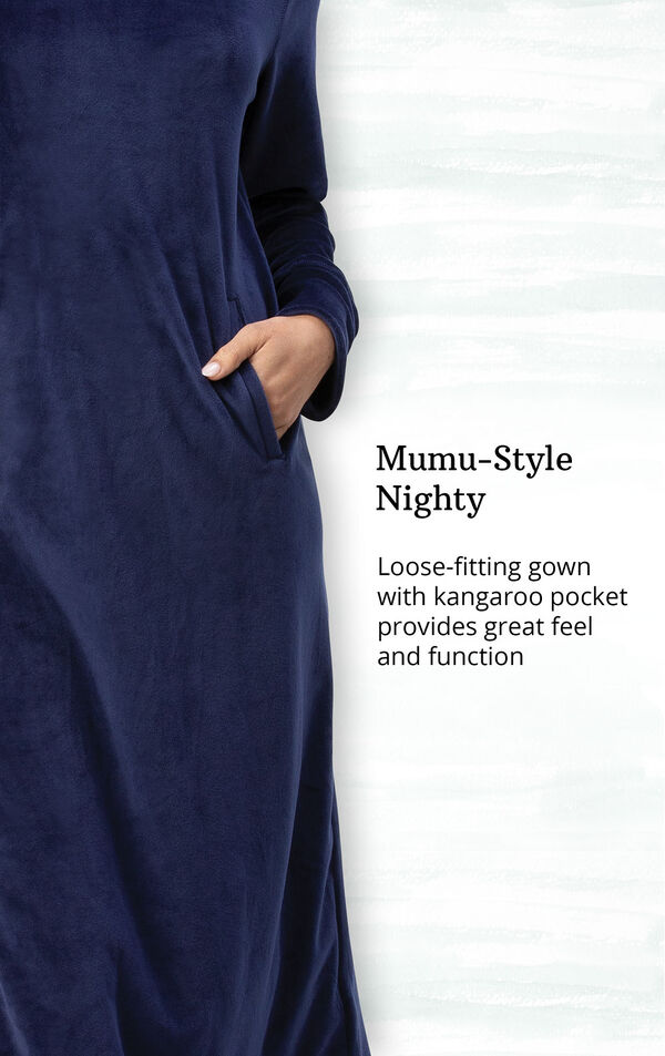 Addison Meadow|PajamaGram Hooded Nightgown - Navy image number 3