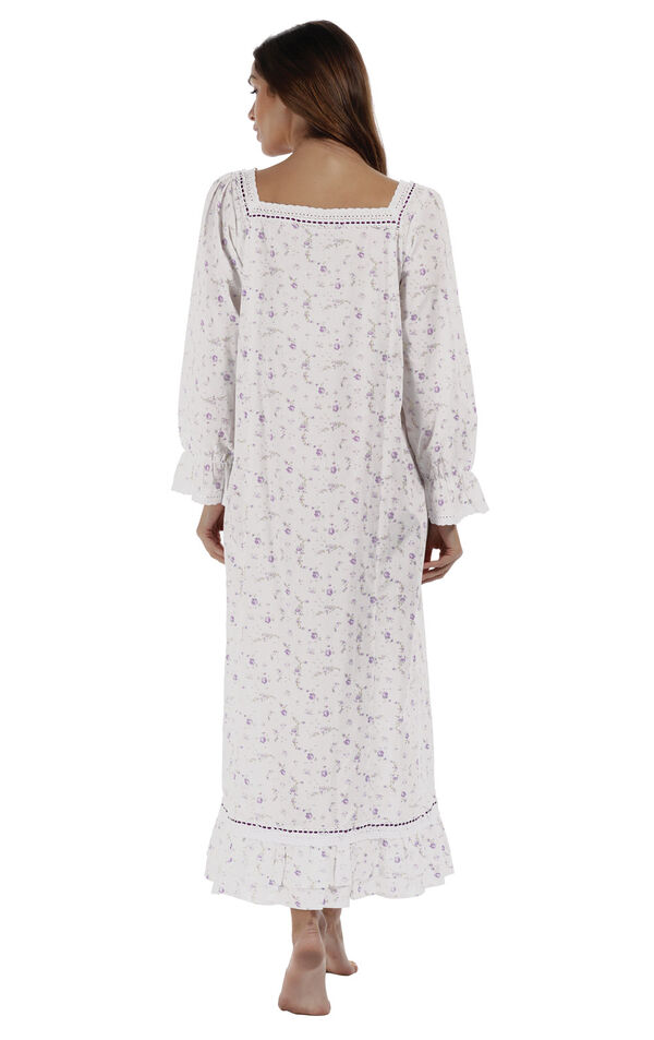 Model wearing Martha Nightgown in Lilac Rose for Women, facing away from the camera image number 1