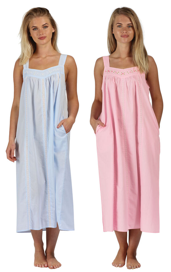 Models wearing Meghan Nightgown - Blue and Meghan Nightgown - Pink image number 0