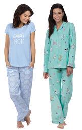 Models wearing Dog Mom Pajamas and Doggy Dreams Boyfriend Pajamas. image number 0