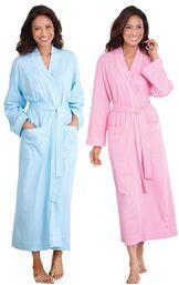 Models wearing Classic Polka-Dot Robe - Blue and Classic Polka-Dot Robe - Pink. image number 0
