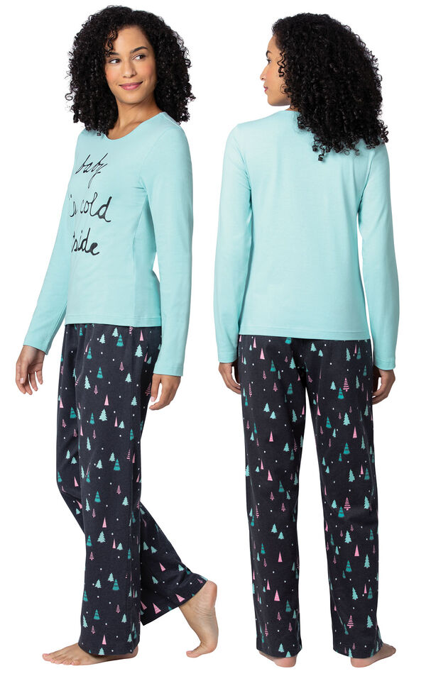 Model wearing Bright Trees Flannel Pajamas, facing away from the camera and then facing to the side image number 1