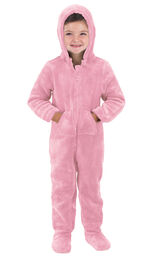 Model wearing Hoodie-Footie - Pink Fleece for Toddlers image number 0