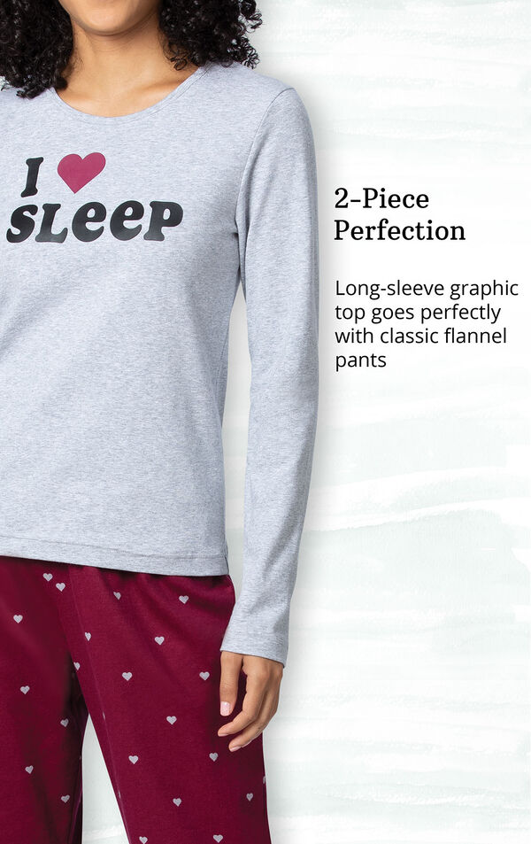 2-Piece Perfection - Long-sleeve graphic top goes perfectly with classic flannel pants image number 2