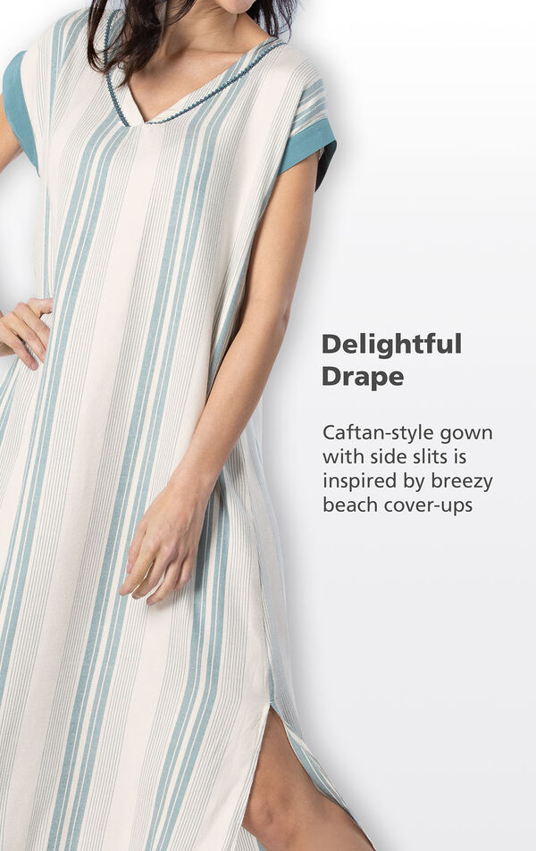 Close-up of Margaritaville Cabana Striped Nighty's Delightful Drape - Caftan-style gown with side slits is inspired by breezy beach cover-ups image number 3