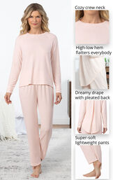 Cloud Fine PJs feature a cozy crew neck, high-low hem that flatters everybody, dreamy drape with pleated back and super-soft lightweight pants - as shown in images image number 3
