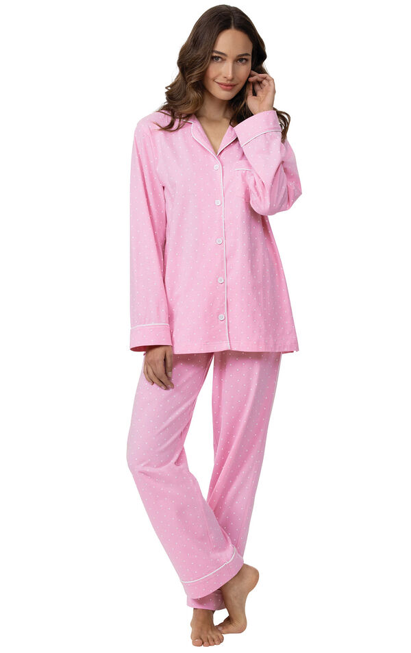 Model wearing Pink Pin Dot Button-Front PJ for Women image number 0